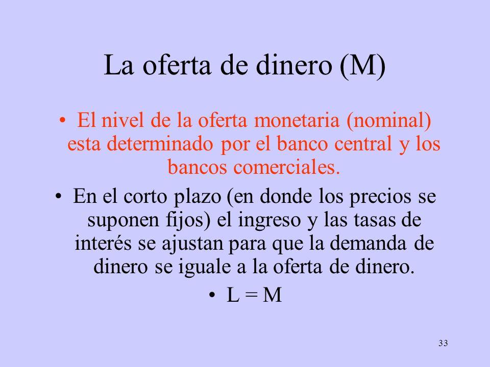 33 La oferta de dinero (M) El nivel de la oferta monetaria (nominal) esta determinado por el banco central y los bancos comerciales. En el corto plazo