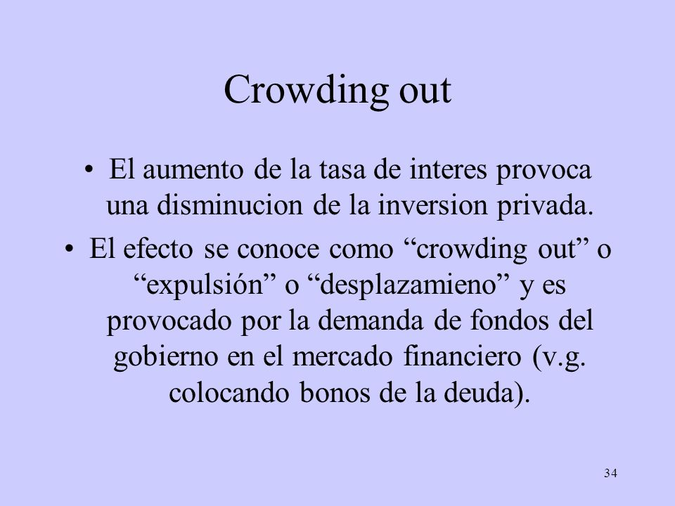 34 Crowding out El aumento de la tasa de interes provoca una disminucion de la inversion privada. El efecto se conoce como crowding out o expulsión o