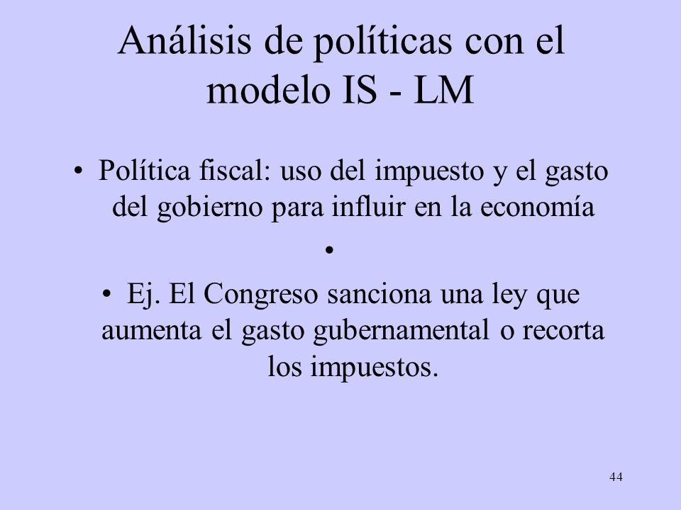 44 Análisis de políticas con el modelo IS - LM Política fiscal: uso del impuesto y el gasto del gobierno para influir en la economía Ej. El Congreso s