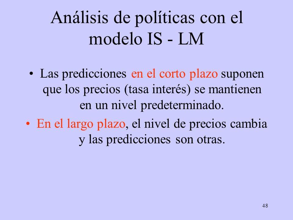 48 Análisis de políticas con el modelo IS - LM Las predicciones en el corto plazo suponen que los precios (tasa interés) se mantienen en un nivel pred