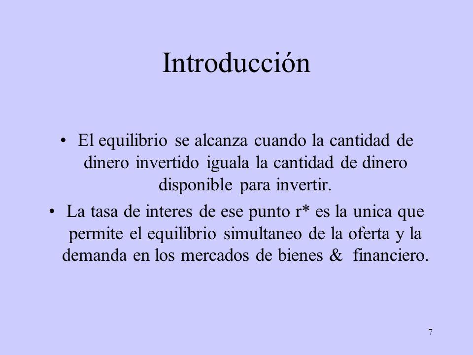 7 Introducción El equilibrio se alcanza cuando la cantidad de dinero invertido iguala la cantidad de dinero disponible para invertir. La tasa de inter