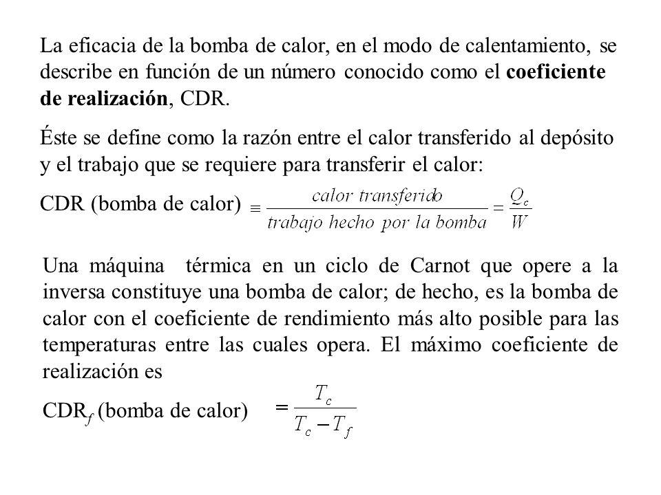 La eficacia de la bomba de calor, en el modo de calentamiento, se describe en función de un número conocido como el coeficiente de realización, CDR.