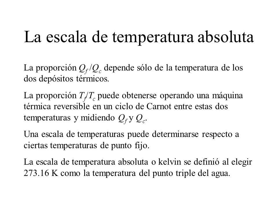 La escala de temperatura absoluta La proporción Q f /Q c depende sólo de la temperatura de los dos depósitos térmicos.