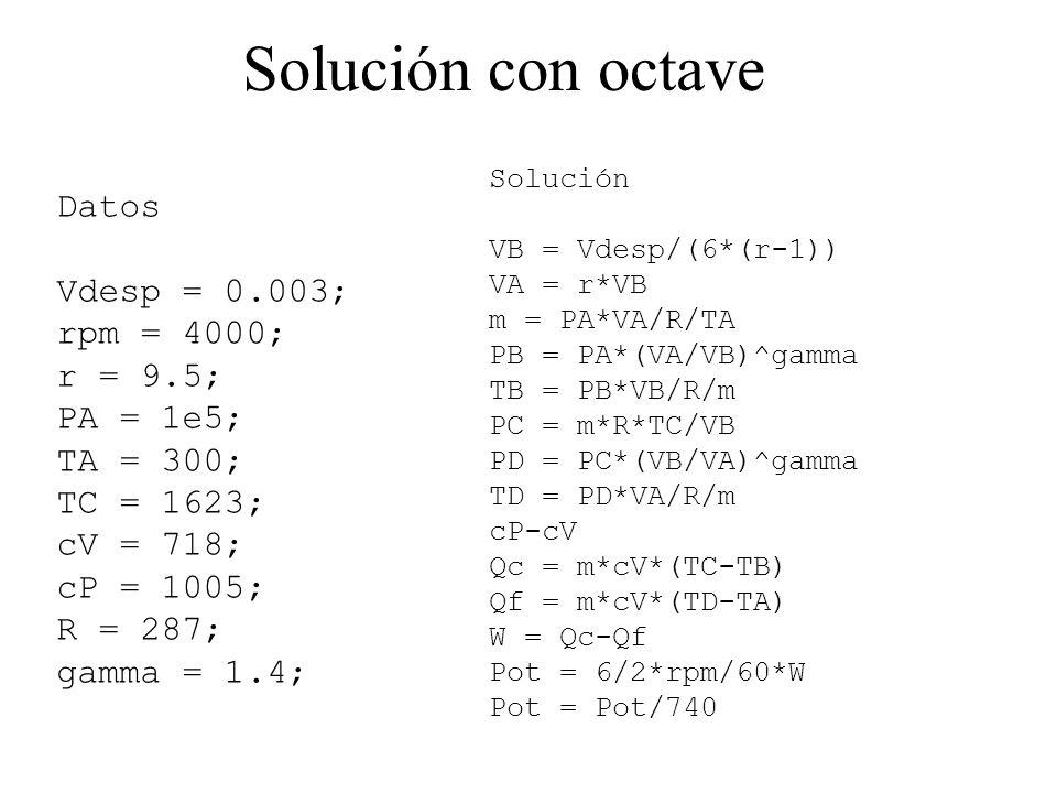 Solución con octave Datos Vdesp = 0.003; rpm = 4000; r = 9.5; PA = 1e5; TA = 300; TC = 1623; cV = 718; cP = 1005; R = 287; gamma = 1.4; Solución VB = Vdesp/(6*(r-1)) VA = r*VB m = PA*VA/R/TA PB = PA*(VA/VB)^gamma TB = PB*VB/R/m PC = m*R*TC/VB PD = PC*(VB/VA)^gamma TD = PD*VA/R/m cP-cV Qc = m*cV*(TC-TB) Qf = m*cV*(TD-TA) W = Qc-Qf Pot = 6/2*rpm/60*W Pot = Pot/740