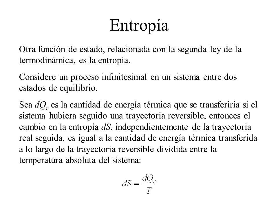 Entropía Otra función de estado, relacionada con la segunda ley de la termodinámica, es la entropía.