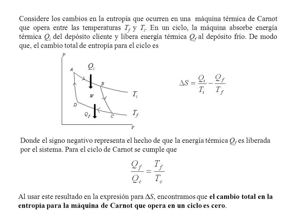 Considere los cambios en la entropía que ocurren en una máquina térmica de Carnot que opera entre las temperaturas T f y T i.