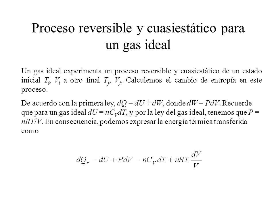 Proceso reversible y cuasiestático para un gas ideal Un gas ideal experimenta un proceso reversible y cuasiestático de un estado inicial T i, V i a otro final T f, V f.