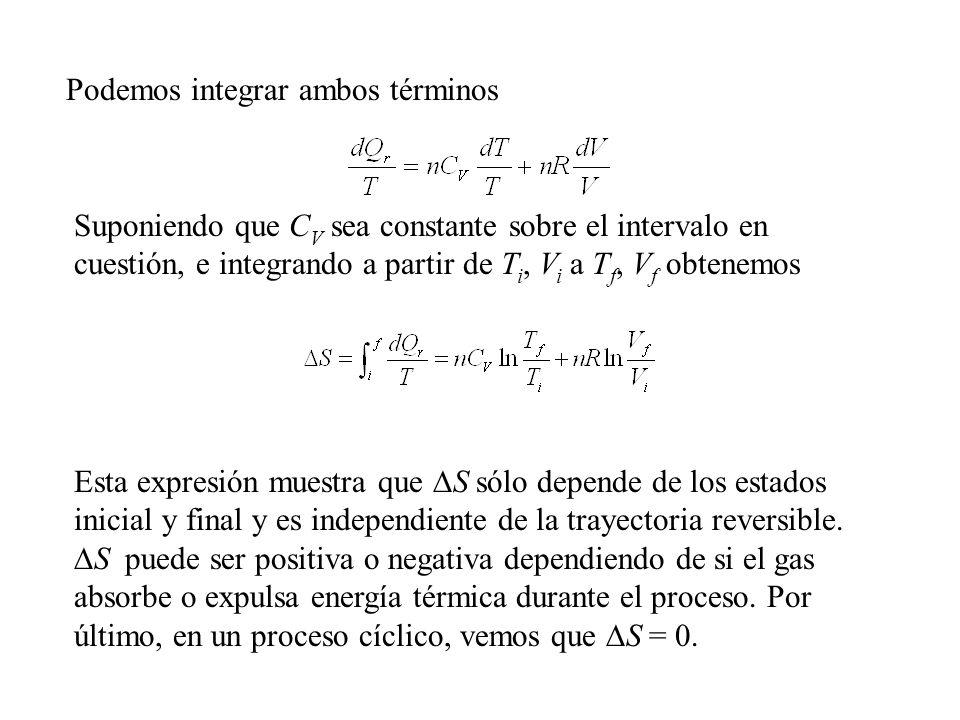Podemos integrar ambos términos Suponiendo que C V sea constante sobre el intervalo en cuestión, e integrando a partir de T i, V i a T f, V f obtenemos Esta expresión muestra que S sólo depende de los estados inicial y final y es independiente de la trayectoria reversible.