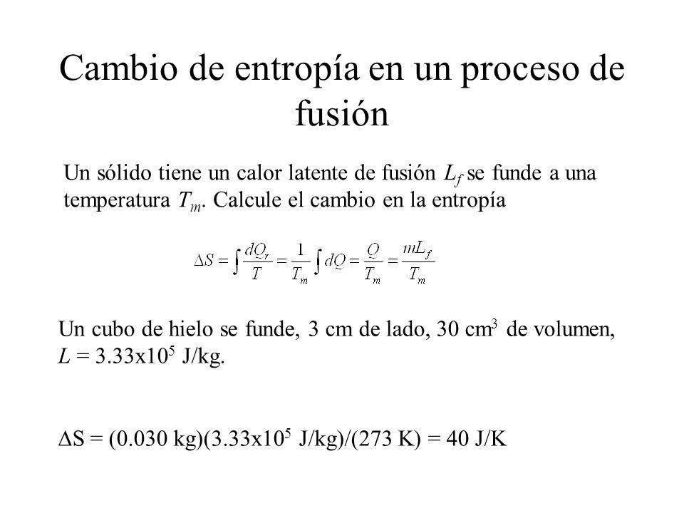 Cambio de entropía en un proceso de fusión Un sólido tiene un calor latente de fusión L f se funde a una temperatura T m.