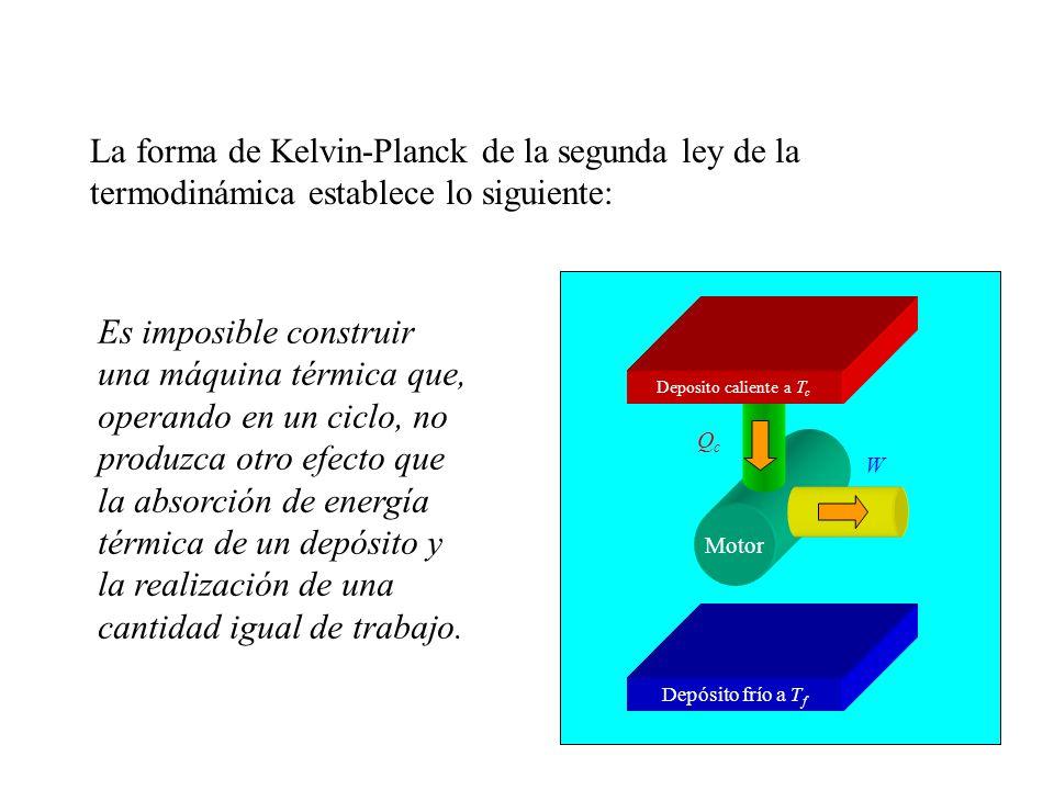 La forma de Kelvin-Planck de la segunda ley de la termodinámica establece lo siguiente: Es imposible construir una máquina térmica que, operando en un ciclo, no produzca otro efecto que la absorción de energía térmica de un depósito y la realización de una cantidad igual de trabajo.