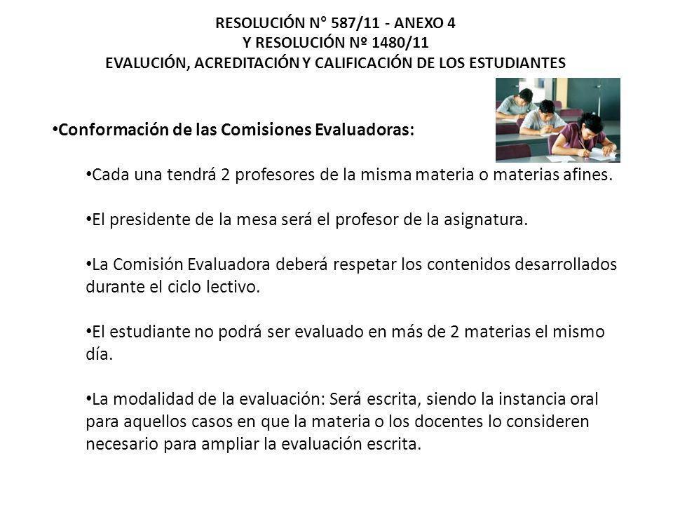 Conformación de las Comisiones Evaluadoras: Cada una tendrá 2 profesores de la misma materia o materias afines. El presidente de la mesa será el profe