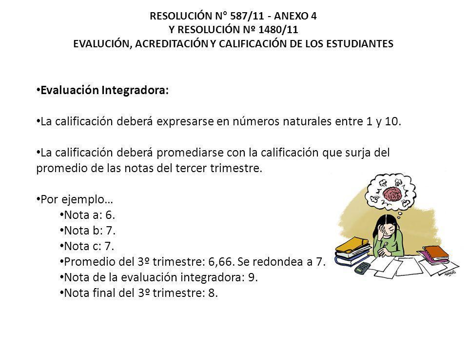 Evaluación Integradora: La calificación deberá expresarse en números naturales entre 1 y 10. La calificación deberá promediarse con la calificación qu