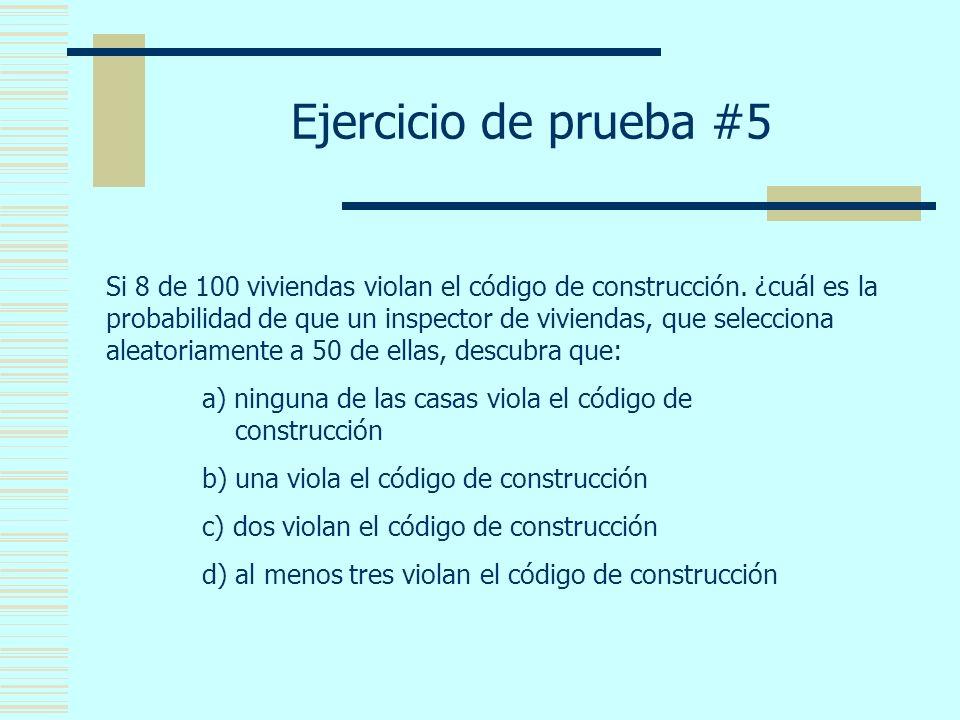 Ejercicio de prueba #5 Si 8 de 100 viviendas violan el código de construcción.