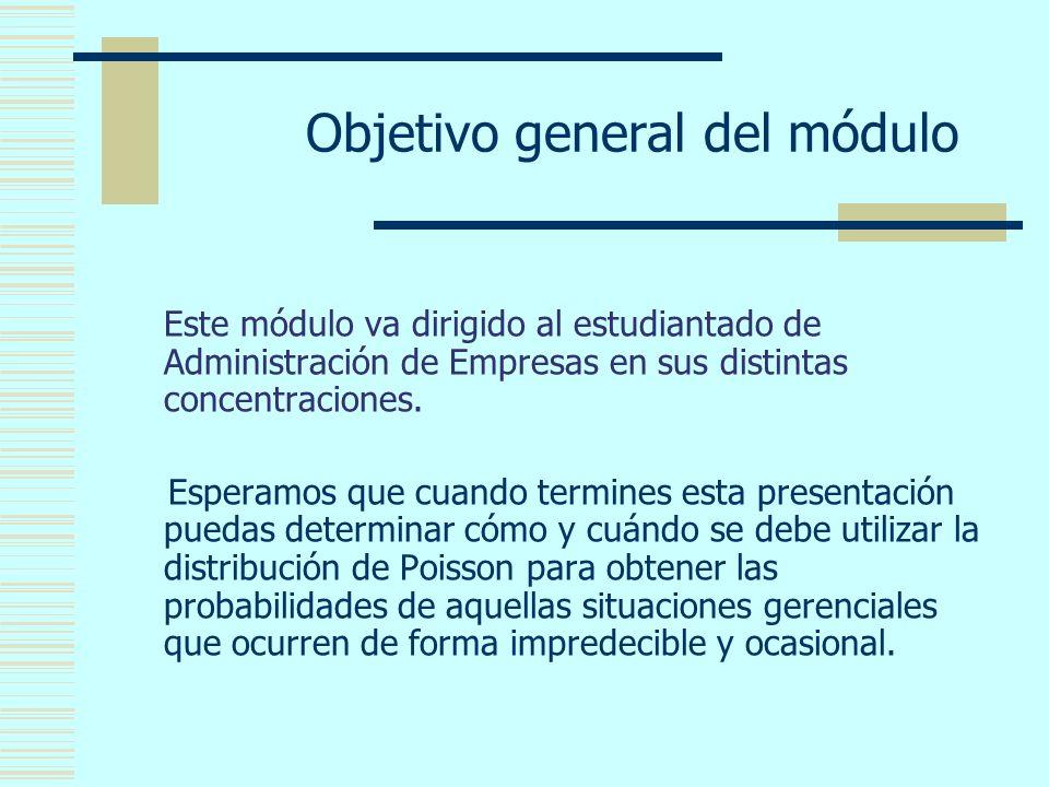 Objetivo general del módulo Este módulo va dirigido al estudiantado de Administración de Empresas en sus distintas concentraciones.