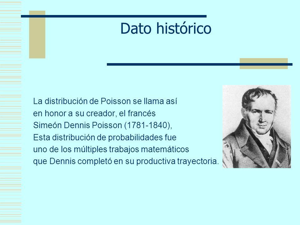 Dato histórico La distribución de Poisson se llama así en honor a su creador, el francés Simeón Dennis Poisson (1781-1840), Esta distribución de probabilidades fue uno de los múltiples trabajos matemáticos que Dennis completó en su productiva trayectoria.