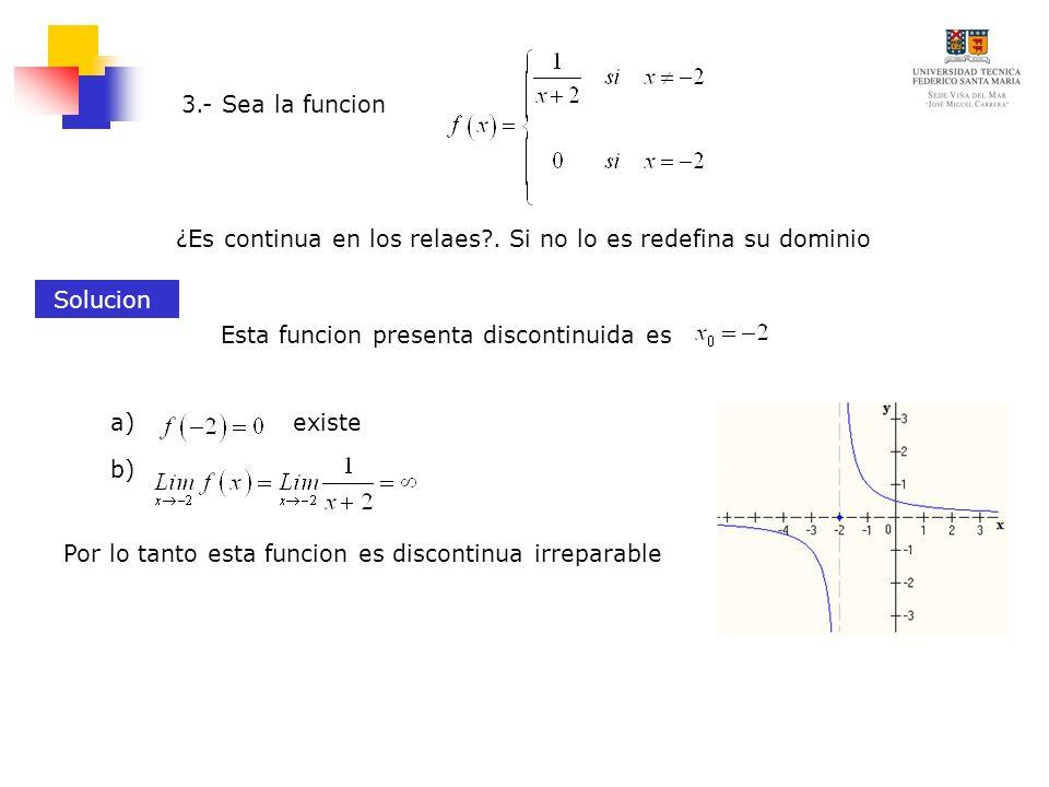 ¿Es continua en los relaes?. Si no lo es redefina su dominio 3.- Sea la funcion Solucion Esta funcion presenta discontinuida es existea) b) Por lo tan