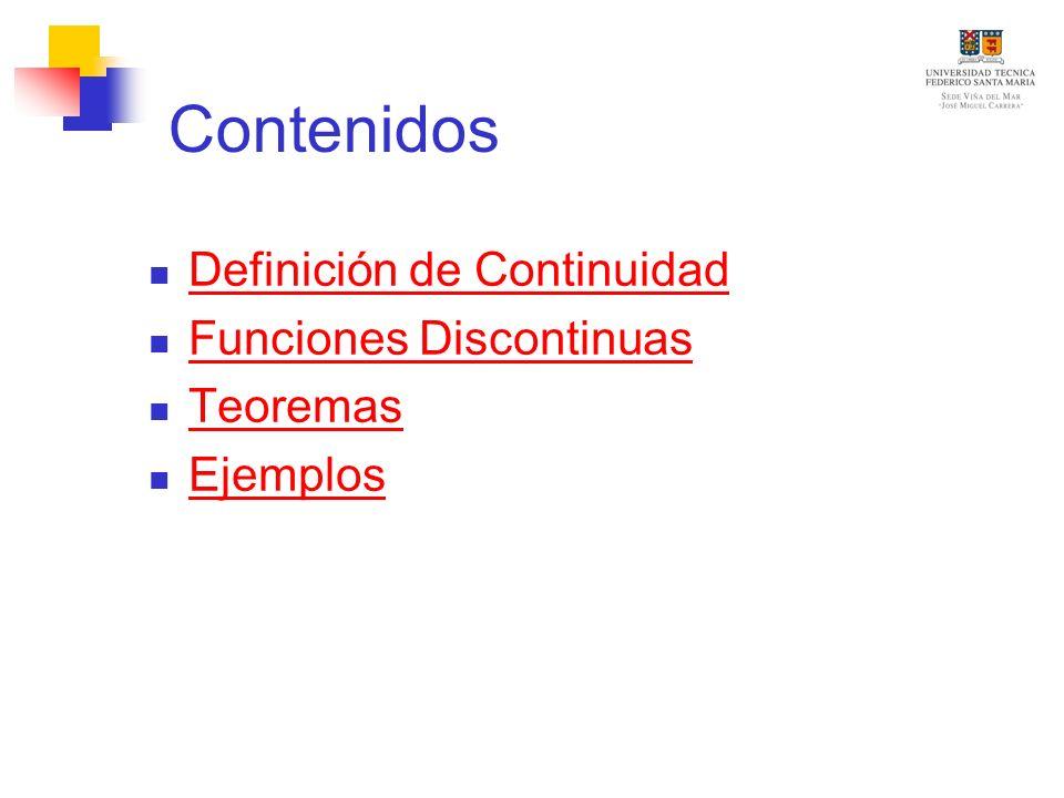 Contenidos Definición de Continuidad Funciones Discontinuas Teoremas Ejemplos