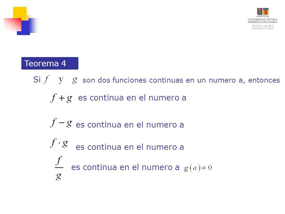 son dos funciones continuas en un numero a, entonces Teorema 4 es continua en el numero a Si