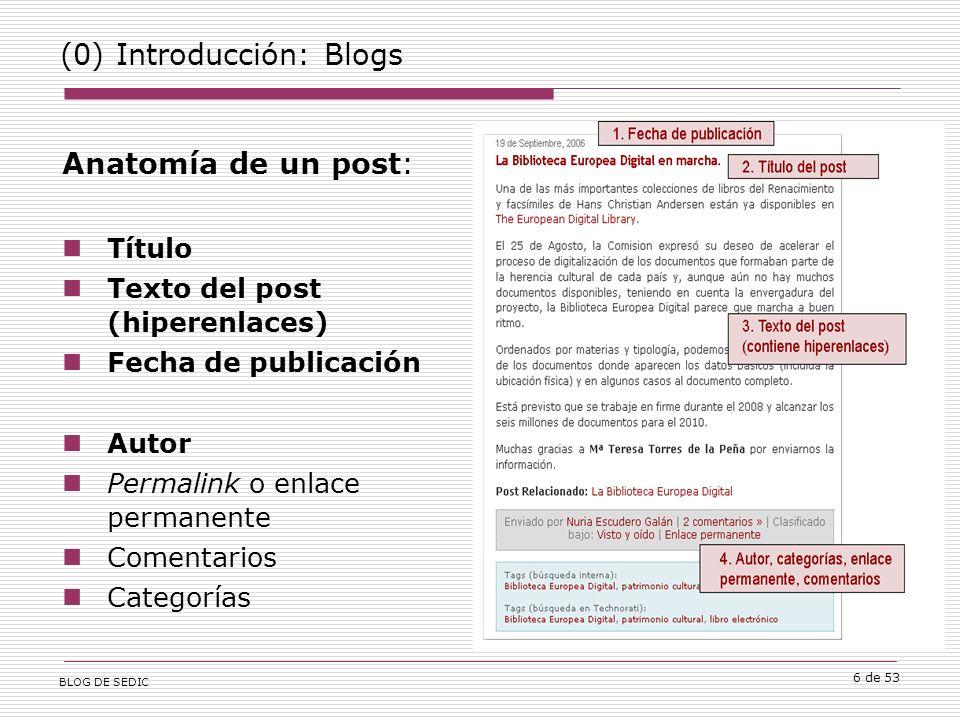 BLOG DE SEDIC 6 de 53 (0) Introducción: Blogs Anatomía de un post: Título Texto del post (hiperenlaces) Fecha de publicación Autor Permalink o enlace permanente Comentarios Categorías