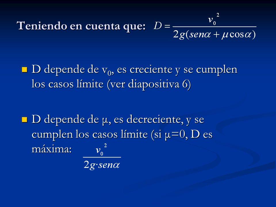 Teniendo en cuenta que: D depende de v 0, es creciente y se cumplen los casos límite (ver diapositiva 6) D depende de v 0, es creciente y se cumplen los casos límite (ver diapositiva 6) D depende de μ, es decreciente, y se cumplen los casos límite (si μ=0, D es máxima: D depende de μ, es decreciente, y se cumplen los casos límite (si μ=0, D es máxima: