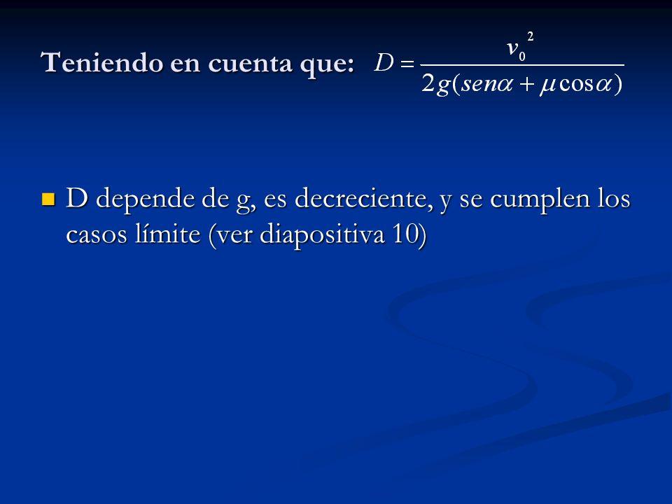 Teniendo en cuenta que: D depende de g, es decreciente, y se cumplen los casos límite (ver diapositiva 10) D depende de g, es decreciente, y se cumplen los casos límite (ver diapositiva 10)