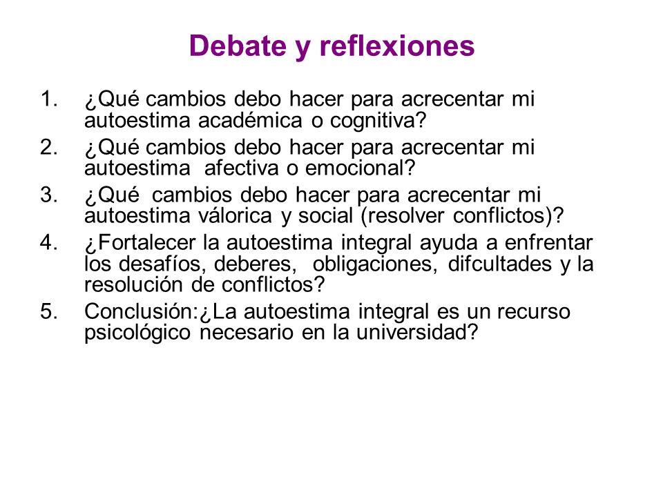 Debate y reflexiones 1.¿Qué cambios debo hacer para acrecentar mi autoestima académica o cognitiva? 2.¿Qué cambios debo hacer para acrecentar mi autoe