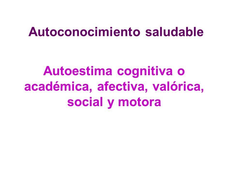 Autoconocimiento saludable Autoestima cognitiva o académica, afectiva, valórica, social y motora