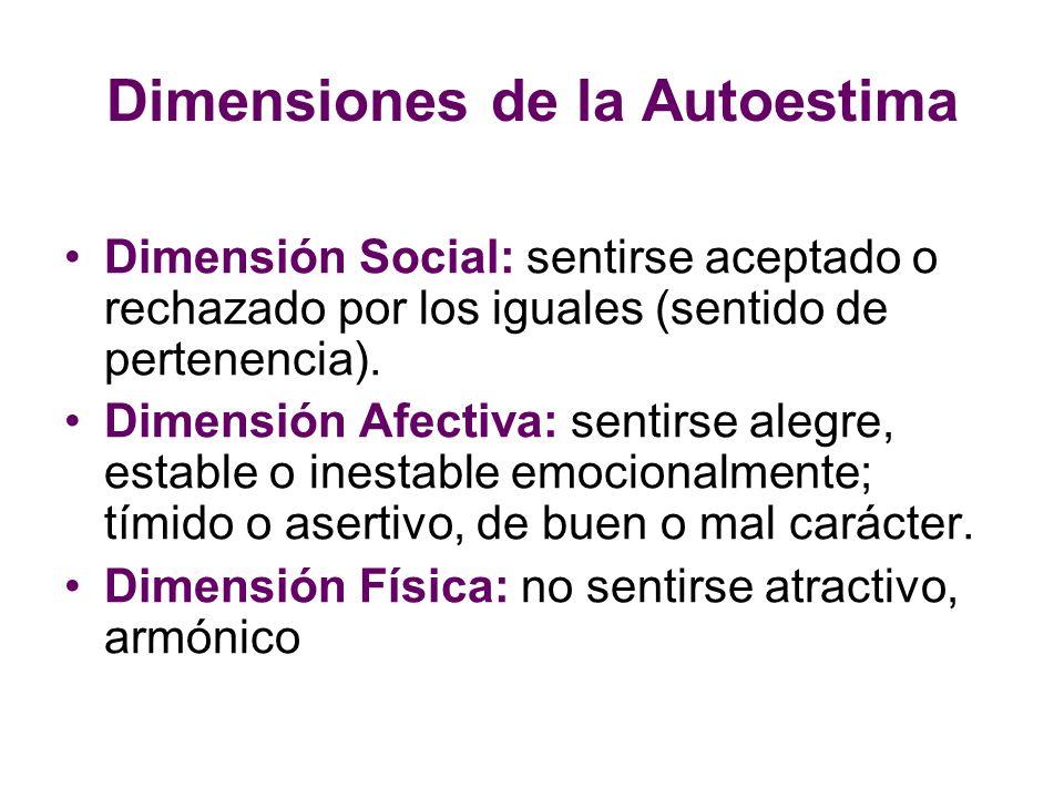 Dimensiones de la Autoestima Dimensión Social: sentirse aceptado o rechazado por los iguales (sentido de pertenencia). Dimensión Afectiva: sentirse al