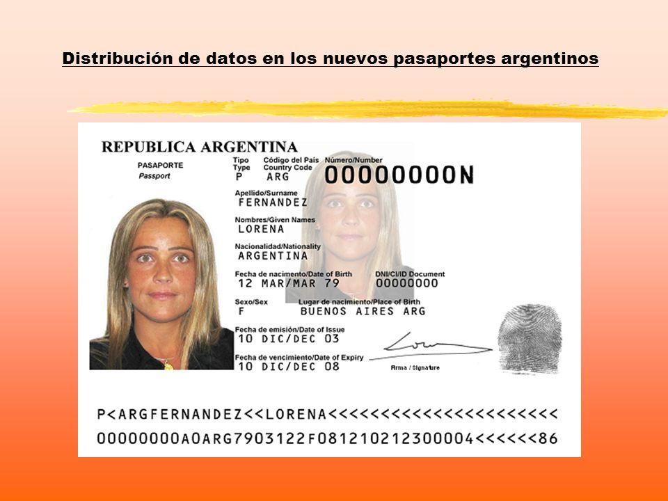 Distribución de datos en los nuevos pasaportes argentinos