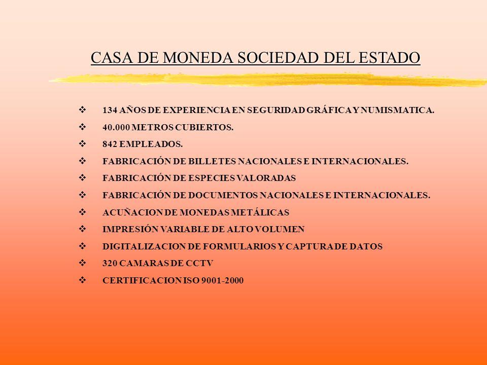 CASA DE MONEDA SOCIEDAD DEL ESTADO 134 AÑOS DE EXPERIENCIA EN SEGURIDAD GRÁFICA Y NUMISMATICA. 40.000 METROS CUBIERTOS. 842 EMPLEADOS. FABRICACIÓN DE