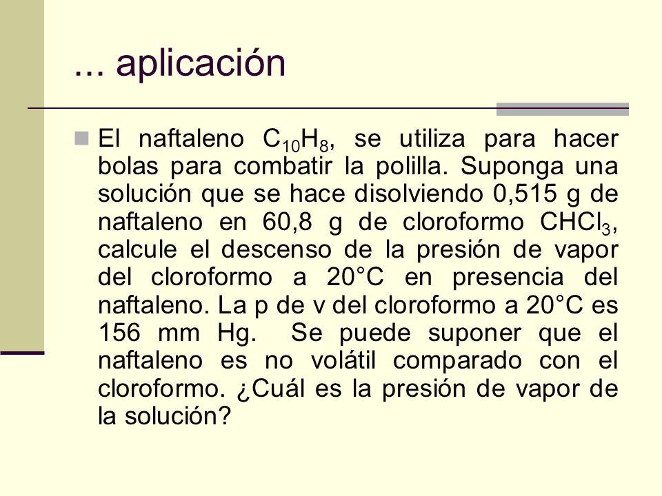 ... aplicación El naftaleno C 10 H 8, se utiliza para hacer bolas para combatir la polilla. Suponga una solución que se hace disolviendo 0,515 g de na