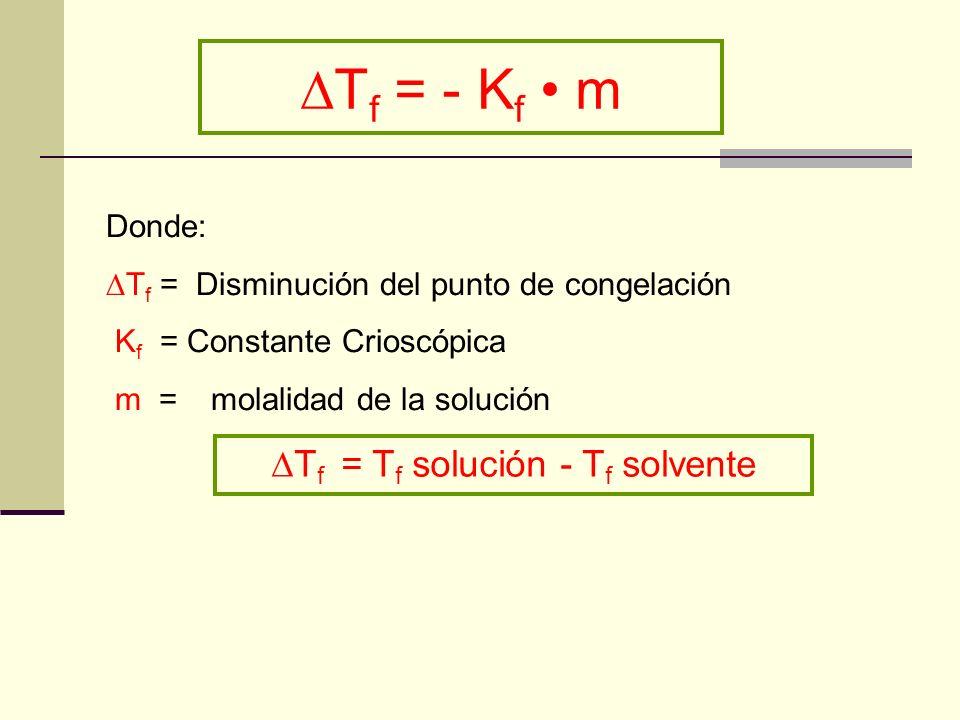 T f = - K f m Donde: T f = Disminución del punto de congelación K f = Constante Crioscópica m = molalidad de la solución T f = T f solución - T f solv