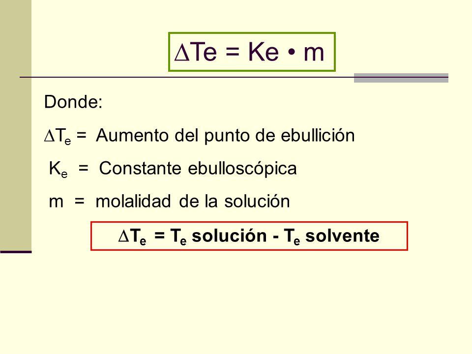 Donde: T e = Aumento del punto de ebullición K e = Constante ebulloscópica m = molalidad de la solución T e = T e solución - T e solvente Te = Ke m