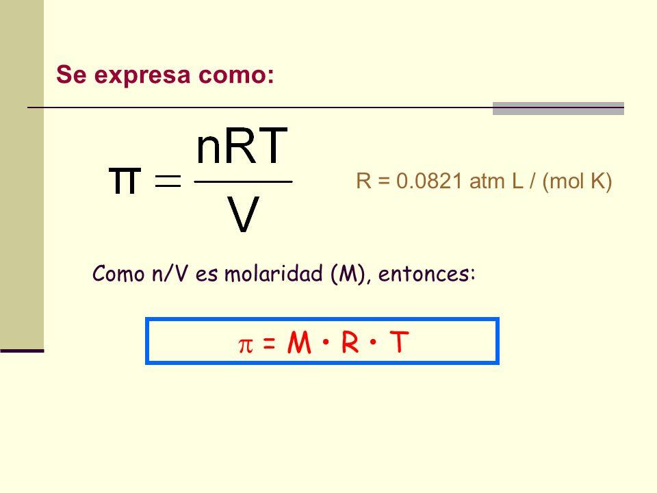 Como n/V es molaridad (M), entonces: = M R T R = 0.0821 atm L / (mol K) Se expresa como: