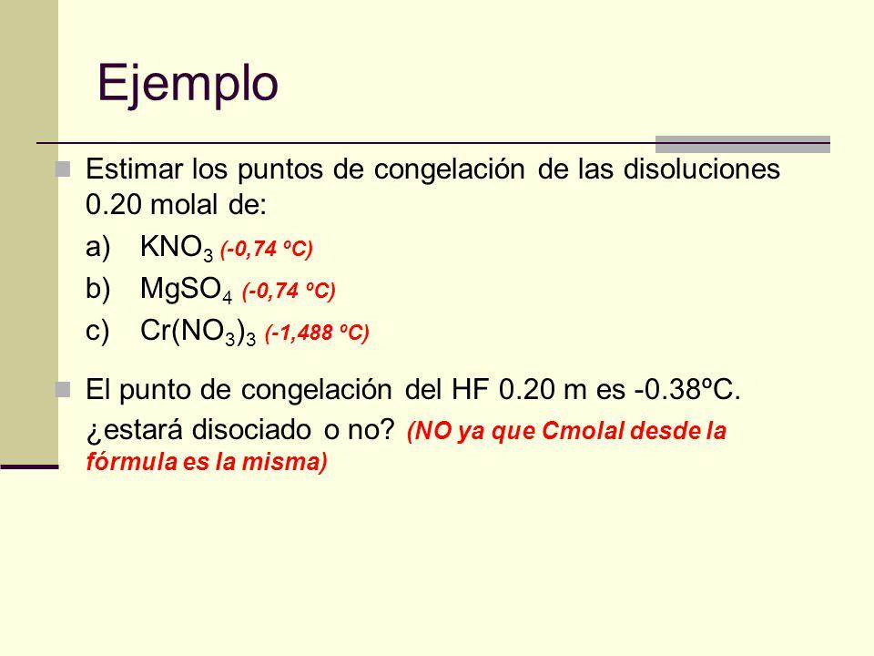 Ejemplo Estimar los puntos de congelación de las disoluciones 0.20 molal de: a)KNO 3 (-0,74 ºC) b)MgSO 4 (-0,74 ºC) c)Cr(NO 3 ) 3 (-1,488 ºC) El punto