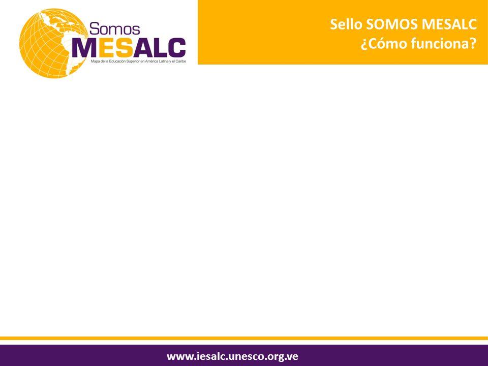 Sello SOMOS MESALC ¿Cómo funciona? www.iesalc.unesco.org.ve