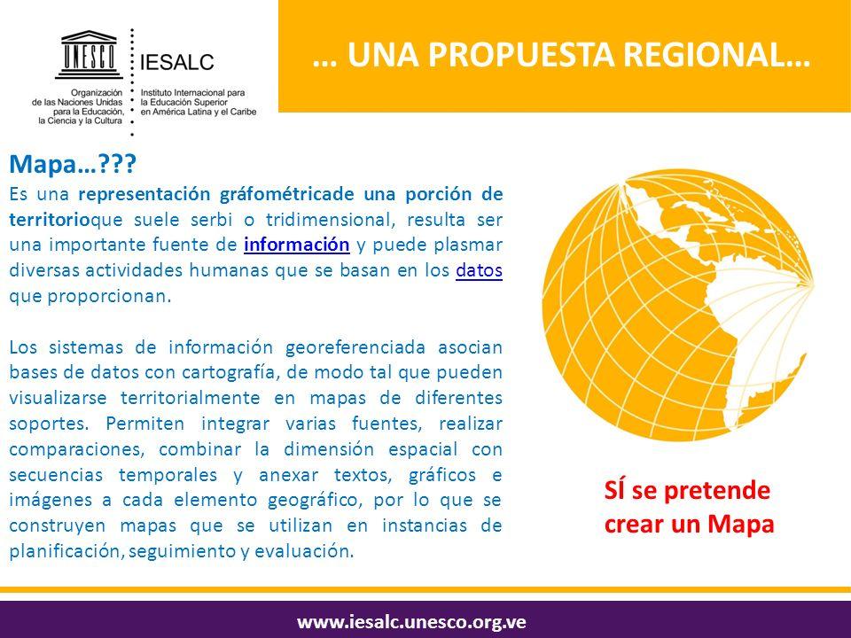 … UNA PROPUESTA REGIONAL… www.iesalc.unesco.org.ve Mapa…??? Es una representación gráfométricade una porción de territorioque suele serbi o tridimensi