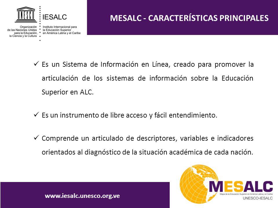MESALC - CARACTERÍSTICAS PRINCIPALES Es un Sistema de Información en Línea, creado para promover la articulación de los sistemas de información sobre la Educación Superior en ALC.