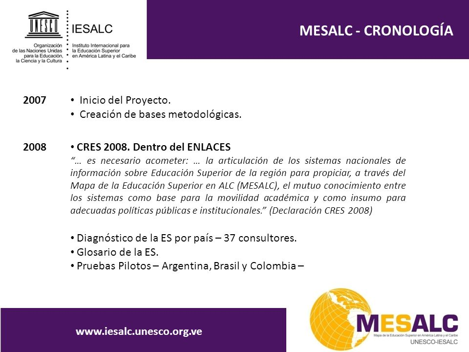 MESALC - CRONOLOGÍA www.iesalc.unesco.org.ve 2007 Inicio del Proyecto. Creación de bases metodológicas. 2008 CRES 2008. Dentro del ENLACES … es necesa
