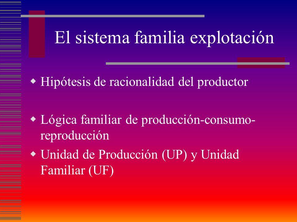 El sistema familia explotación Hipótesis de racionalidad del productor Lógica familiar de producción-consumo- reproducción Unidad de Producción (UP) y Unidad Familiar (UF)