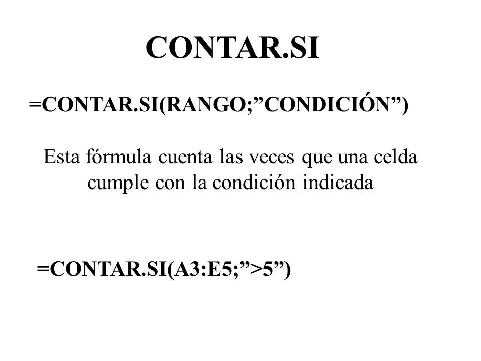 CONTAR.SI =CONTAR.SI(RANGO;CONDICIÓN) Esta fórmula cuenta las veces que una celda cumple con la condición indicada =CONTAR.SI(A3:E5;>5)