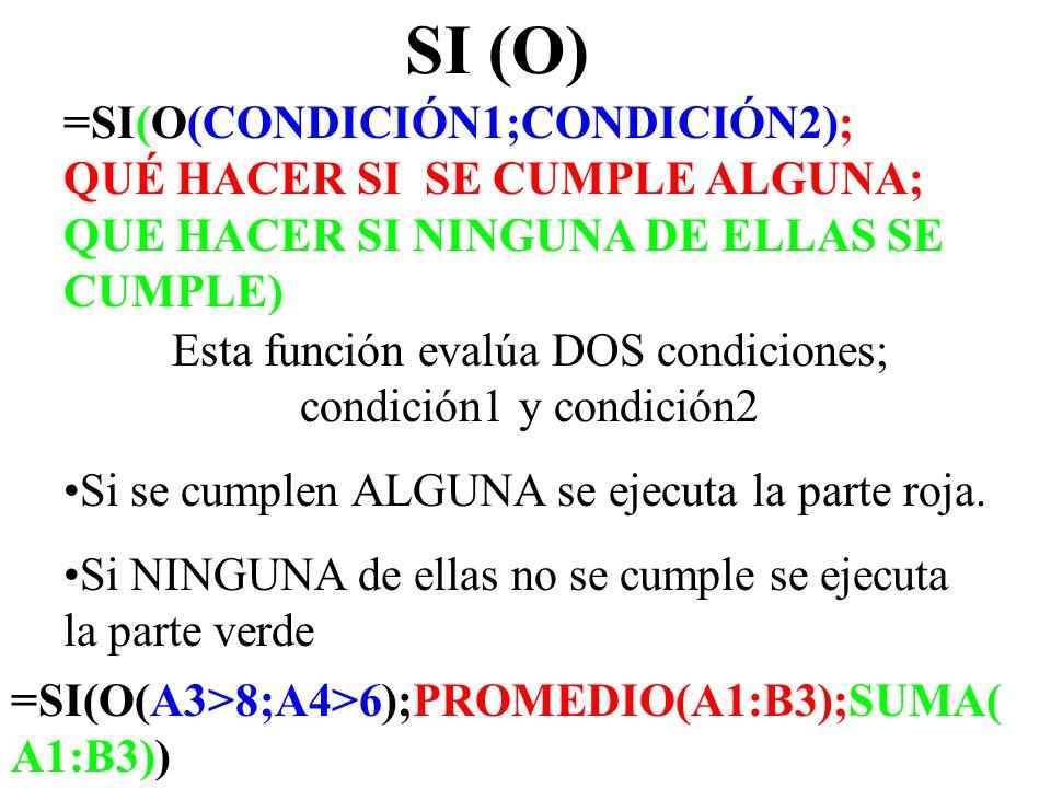 SI (O) =SI(O(CONDICIÓN1;CONDICIÓN2); QUÉ HACER SI SE CUMPLE ALGUNA; QUE HACER SI NINGUNA DE ELLAS SE CUMPLE) Esta función evalúa DOS condiciones; cond