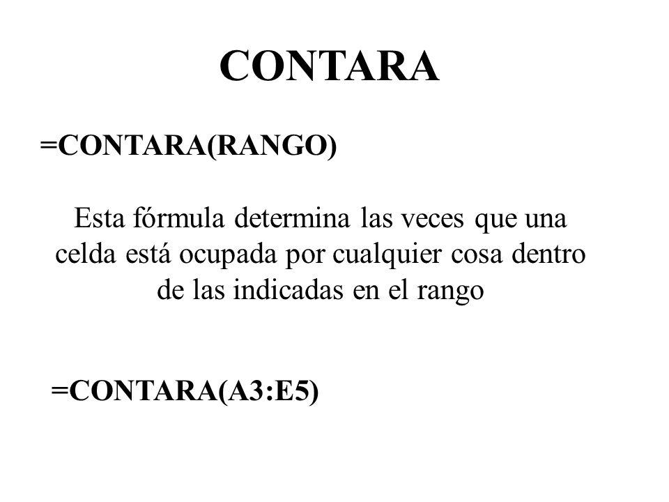 CONTARA =CONTARA(RANGO) Esta fórmula determina las veces que una celda está ocupada por cualquier cosa dentro de las indicadas en el rango =CONTARA(A3