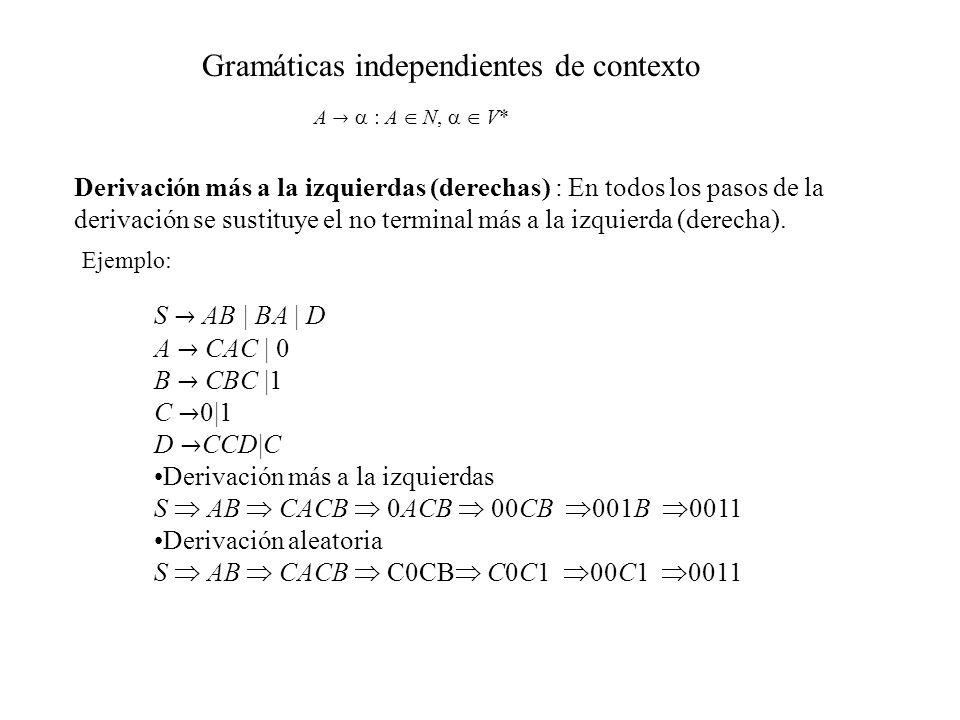 Gramáticas independientes de contexto A : A N, V* Derivación más a la izquierdas (derechas) : En todos los pasos de la derivación se sustituye el no t