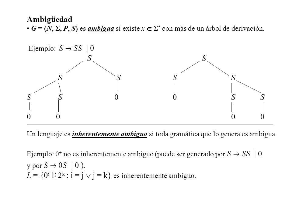 Ambigüedad G = (N,, P, S) es ambigua si existe x * con más de un árbol de derivación. Ejemplo: S SS | 0 SS S SSS S S00SS 0000 Un lenguaje es inherente