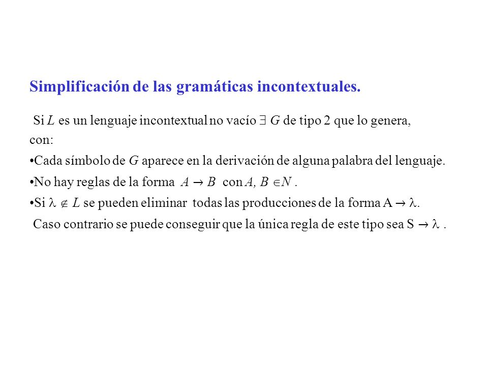 Simplificación de las gramáticas incontextuales. Si L es un lenguaje incontextual no vacío G de tipo 2 que lo genera, con: Cada símbolo de G aparece e