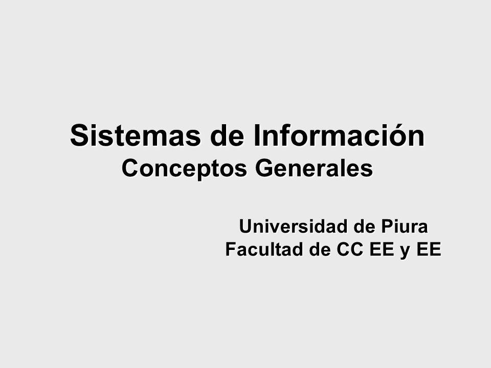 Sistemas de Información Conceptos Generales Universidad de Piura Facultad de CC EE y EE