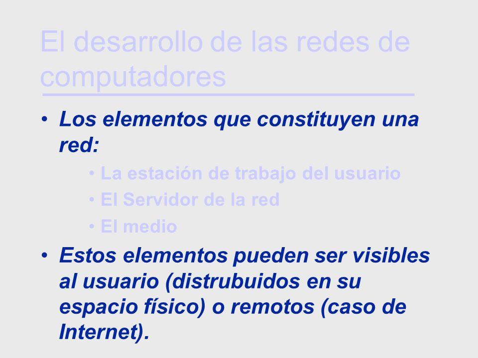 Los elementos que constituyen una red: La estación de trabajo del usuario El Servidor de la red El medio Estos elementos pueden ser visibles al usuari