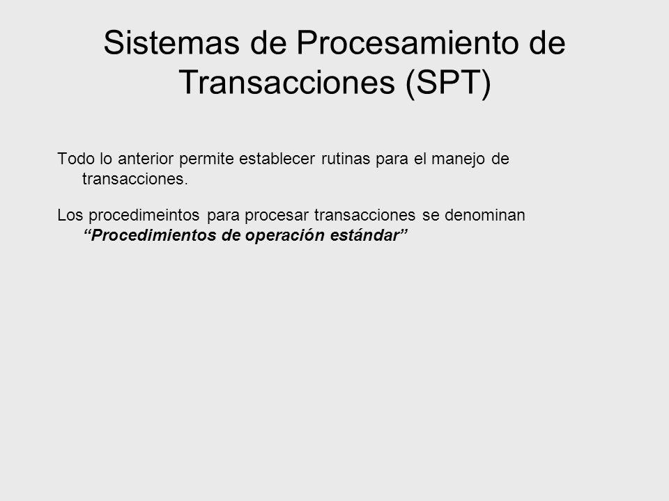 Sistemas de Procesamiento de Transacciones (SPT) Todo lo anterior permite establecer rutinas para el manejo de transacciones. Los procedimeintos para