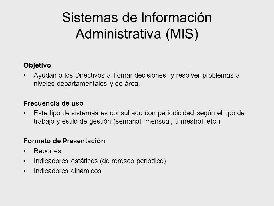 Sistemas de Información Administrativa (MIS) Objetivo Ayudan a los Directivos a Tomar decisiones y resolver problemas a niveles departamentales y de á